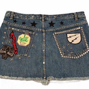 Marc Jacobs Stud Patch Punk Denim Jean Skirt 12